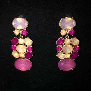 NWT Pink gem statement earrings